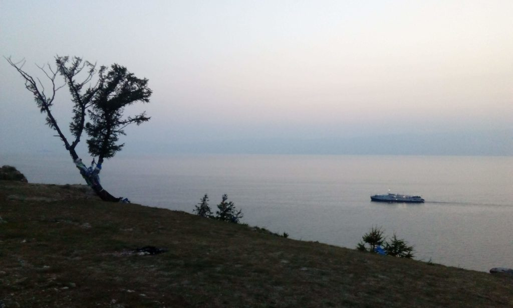 Ship returning to Olkhon Island port.