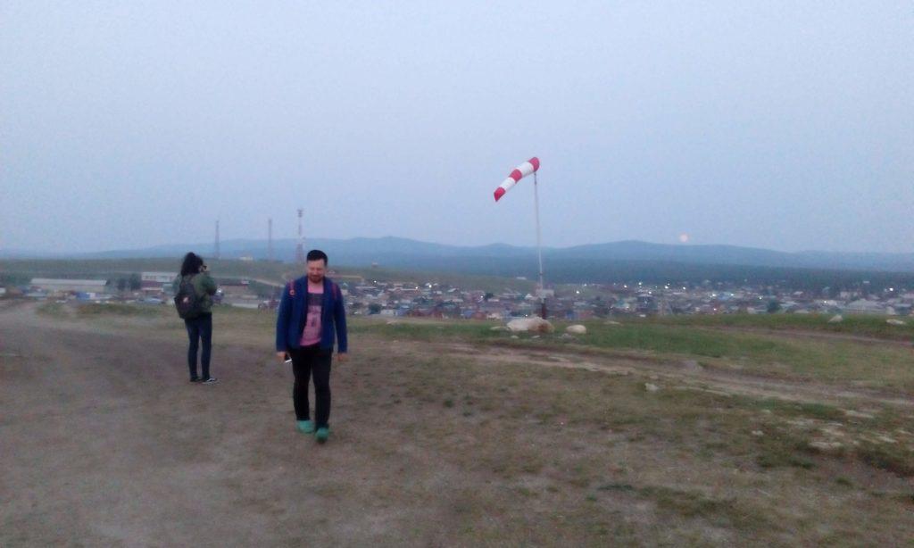 Helicopter landing field spot on Olkhon Island.